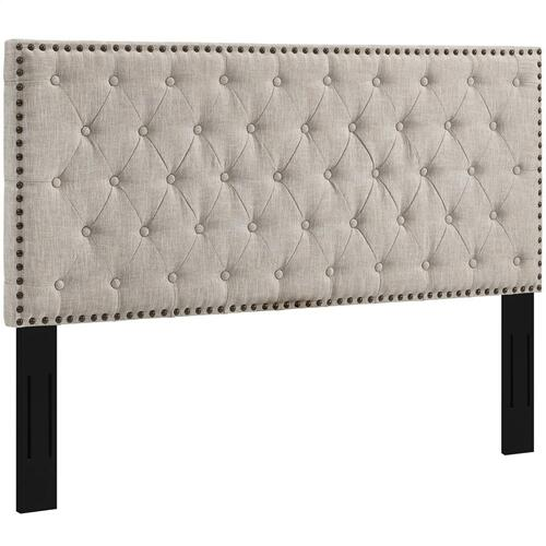 Helena Tufted Twin Upholstered Linen Fabric Headboard in Beige