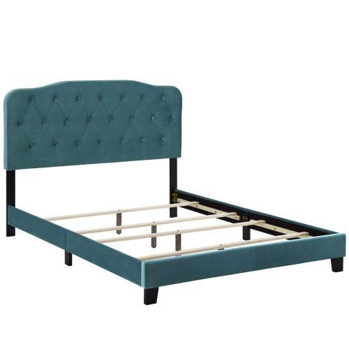 Amelia Queen Performance Velvet Bed in Sea Blue