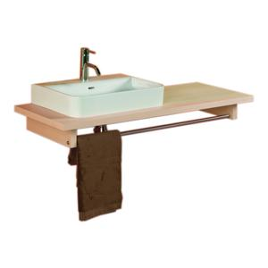 Aeri long wood counter top unit with integral towel rail. Product Image