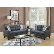 Teresa 2pc Loveseat & Sofa Set, Charcoal-glossy