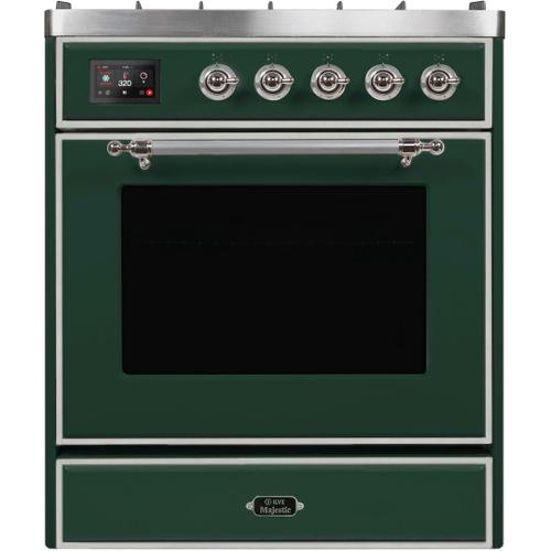 Majestic II 30 Inch Dual Fuel Natural Gas Freestanding Range in Emerald Green with Chrome Trim