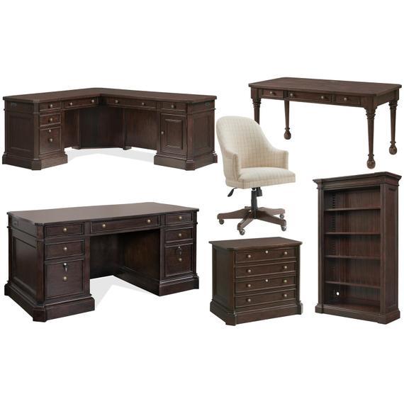 Riverside - Rosemoor - Executive Writing Desk - Burnt Caramel Finish