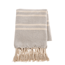 See Details - Light Grey & Natural Stripe Woven Throw