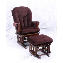 Sleigh Back Cherry finish solid birch glider with padded arms