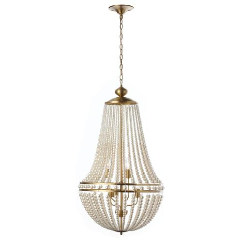 6lt Incandescent Chandelier Aged Brass W/ Pearls