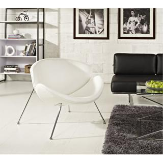 Nutshell Upholstered Vinyl Lounge Chair in White