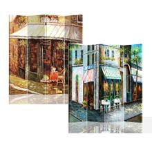 See Details - 4 Panels Double Sided Canvas Painting Room Divider Screen - Coner Store