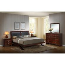 Emily 111 Merlot Wood Arch-Leg Bed Group KING AND QUEEN Bed Dresser Mirror 2 Night Stands, King