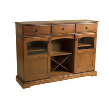 See Details - Maple Traditional Credenza With 2 Doors With Glass Windows, 3 Drawers Open Center With Removable Wine Rack Antique Black Knobs, 1 Fixed Center Shelf and 4 Adjustable Shelves
