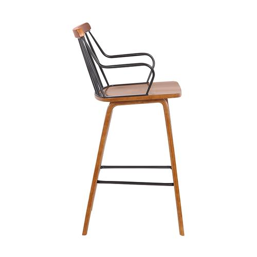 """Armen Living - Micah Modern 26"""" Counter Height Wood and Metal Stool with Walnut Finish"""