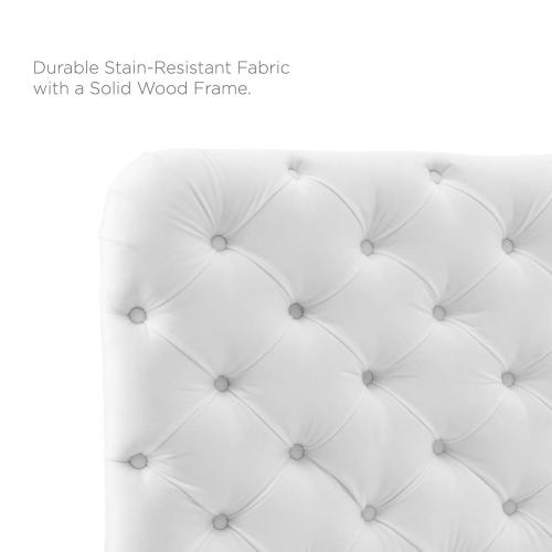 Lizzy Tufted Twin Performance Velvet Headboard in White
