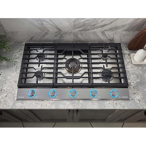 """Samsung - 36"""" Chef Collection Gas Cooktop with 22K BTU Dual Power Burner in Stainless Steel"""