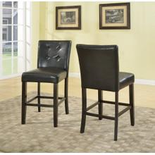 "24"" Black Blended Leather Counter Hight Bar Stool Chairs with Espresso Finish Solid Wood Legs set of 2"
