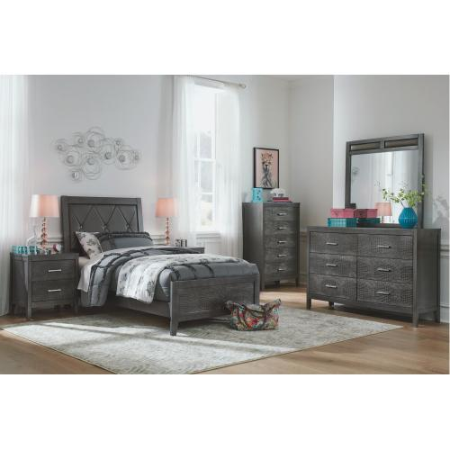 Twin Upholstered Panel Bed With Mirrored Dresser, Chest and 2 Nightstands