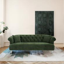 See Details - Elegance Contemporary Sofa in Green Velvet with Acrylic Legs