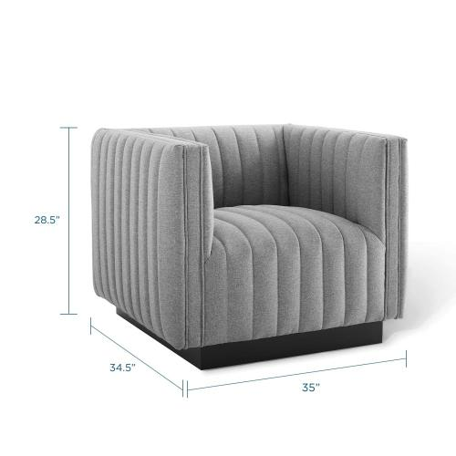 Conjure Tufted Upholstered Fabric Armchair in Light Gray