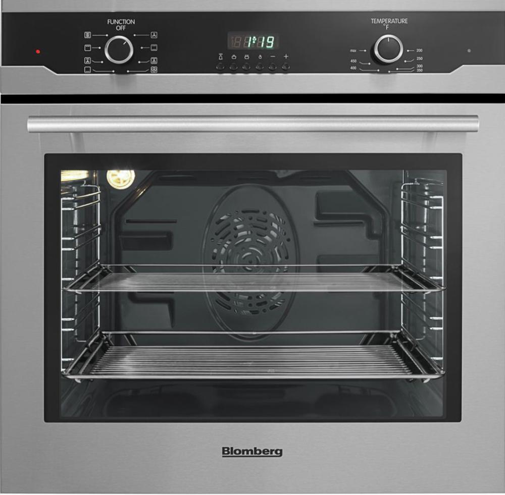 "Blomberg Appliances24"" Built In Wall Oven Single, Stainless, Full Glass Door Moon Design"