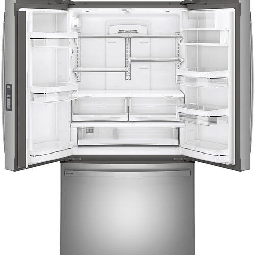 GE Profile 23.1 Cu. Ft. Counter-Depth French-Door Refrigerator Stainless Steel - PWE23KYNFS