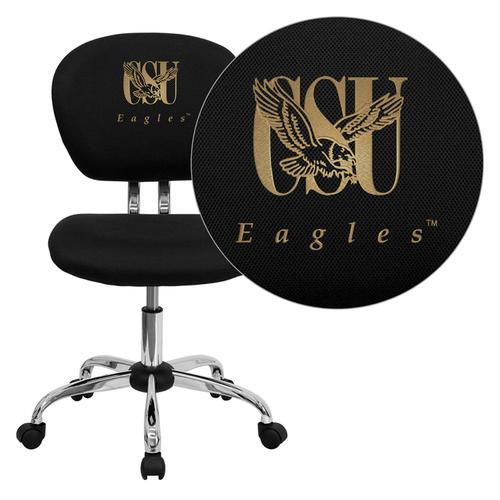 Coppin State University Eagles Embroidered Black Mesh Task Chair with Chrome Base