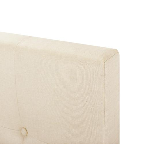 Button Tufted Twin Upholstered Bed in Cream
