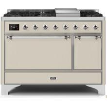 See Details - Majestic II 48 Inch Dual Fuel Natural Gas Freestanding Range in Antique White with Chrome Trim