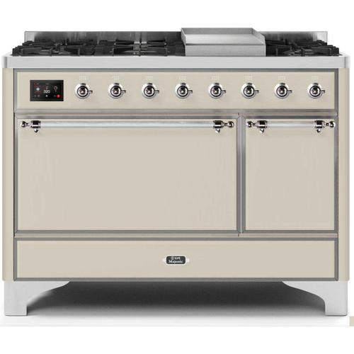 Gallery - Majestic II 48 Inch Dual Fuel Natural Gas Freestanding Range in Antique White with Chrome Trim