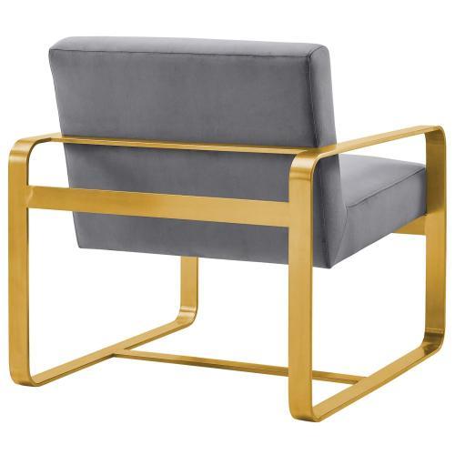 Astute Performance Velvet Armchair in Gray