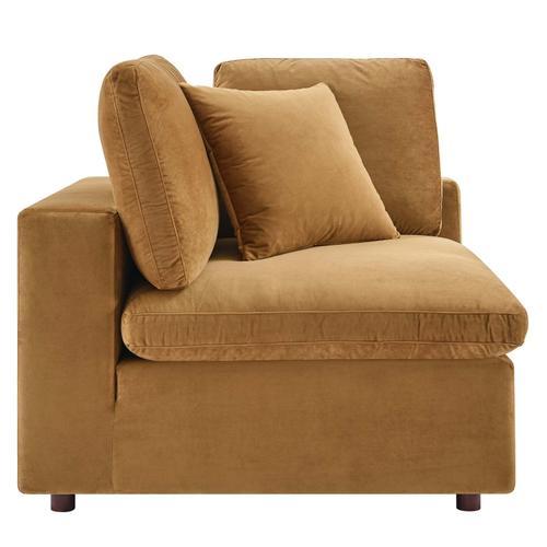 Modway - Commix Down Filled Overstuffed Performance Velvet Corner Chair in Cognac