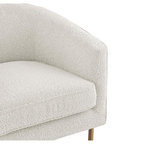 Product Image - Harrod Fabric Accent Arm Chair Antique Gold Legs, Boucle Beige