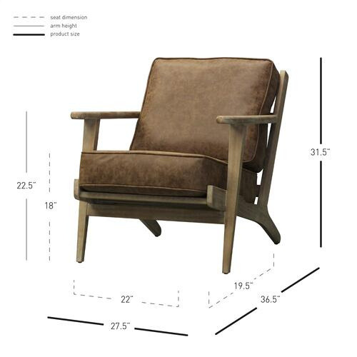 Albert PU Accent Arm Chair Brushed Smoke Frame, Nubuck Chocolate