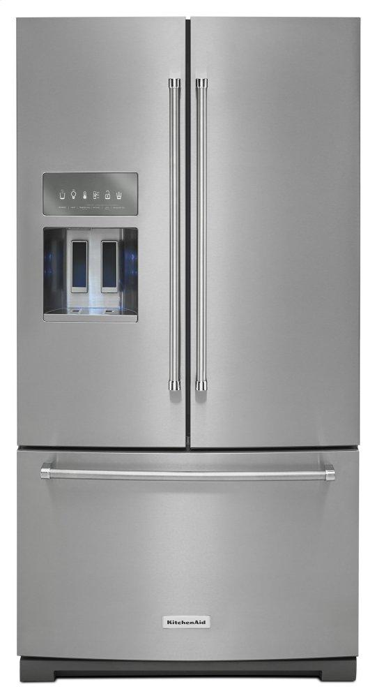 KitchenAid26.8 Cu. Ft. 36-Inch Width Standard Depth French Door Refrigerator With Exterior Ice And Water And Printshield(tm) Finish - Stainless Steel With Printshield(tm) Finish