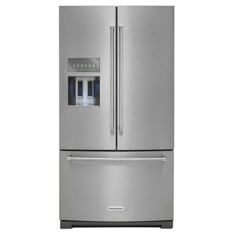 26.8 cu. ft. 36-Inch Width Standard Depth French Door Refrigerator with Exterior Ice and Water and PrintShield(TM) finish - Stainless Steel with PrintShield(TM) Finish