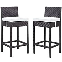 Lift Bar Stool Outdoor Patio Set of 2 in Espresso White
