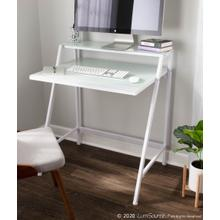See Details - 2-tier Computer Desk - White Metal, Frosted White Glass