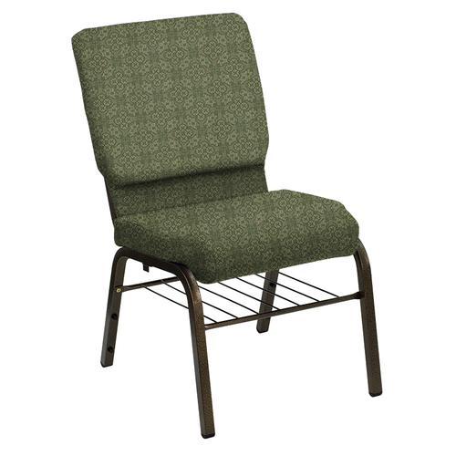 Flash Furniture - HERCULES Series 18.5''W Church Chair in Faith Herb Fabric with Book Rack - Gold Vein Frame