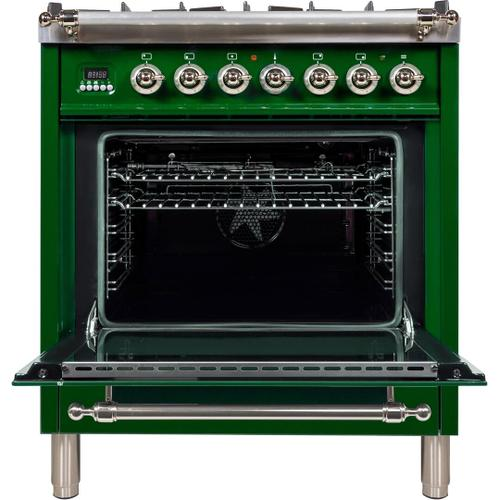Nostalgie 30 Inch Dual Fuel Liquid Propane Freestanding Range in Emerald Green with Chrome Trim