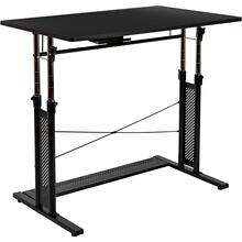 "Height Adjustable 39.25""W x 23.75""D x 27.25-35.75""H Office Table in Black"