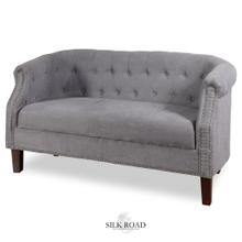 GREY VELVET SETTEE  30in X 56in  Traditional Tufted Grey Velvet Settee with Nail head Trim and Woo