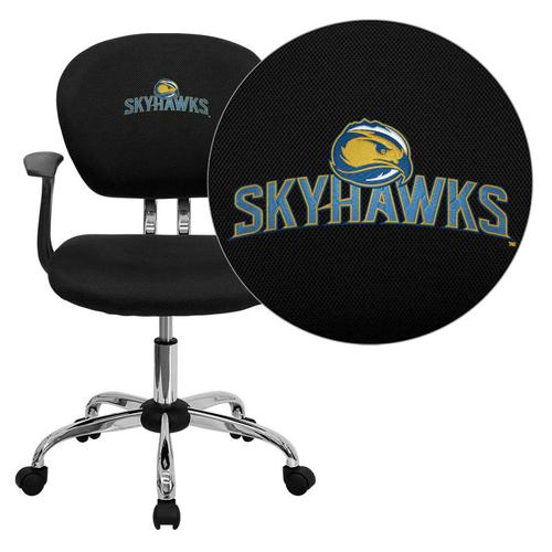 Fort Lewis College Skyhawks Embroidered Black Mesh Task Chair with Arms and Chrome Base