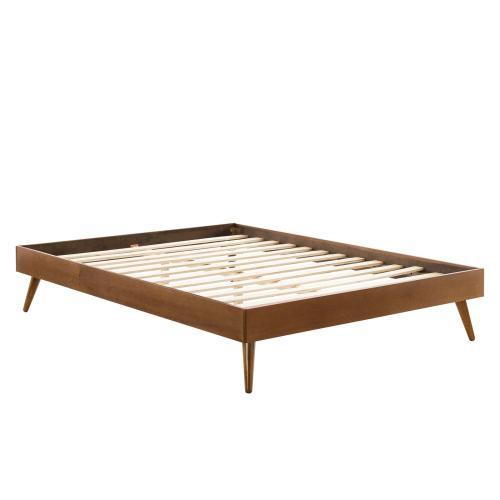 Margo King Wood Platform Bed Frame in Walnut