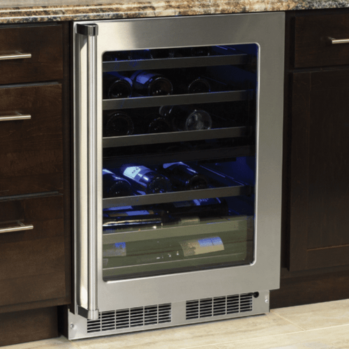 Marvel - 24-In Professional Built-In Dual Zone Wine Refrigerator with Door Style - Stainless Steel Frame Glass