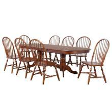 See Details - Double Pedestal Extendable Dining Set (9 Piece)