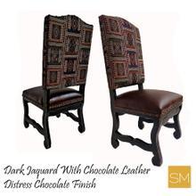Dark Jaquard Wooden Chair
