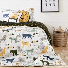Dreamit - Kids Bedding Set Safari Wild Cats, White and Green, Twin