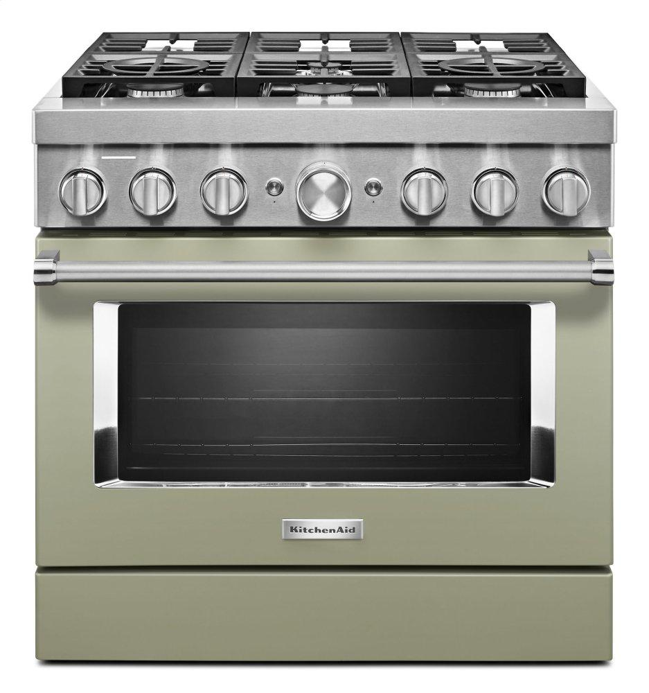 KitchenaidKitchenaid® 36'' Smart Commercial-Style Dual Fuel Range With 6 Burners - Avocado Cream