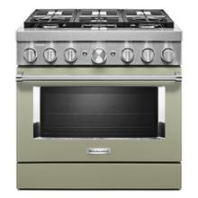 KitchenAid® 36'' Smart Commercial-Style Dual Fuel Range with 6 Burners - Matte Avocado Cream
