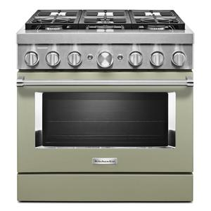KitchenAid® 36'' Smart Commercial-Style Dual Fuel Range with 6 Burners - Avocado Cream Product Image