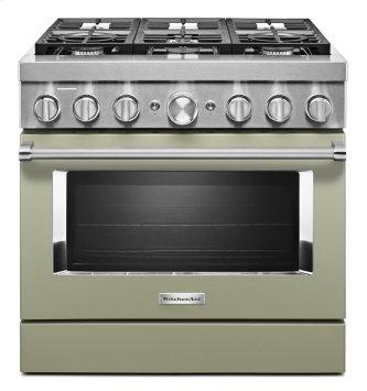 KitchenAid™ 36'' Smart Commercial-Style Dual Fuel Range with 6 Burners - Matte Avocado Cream