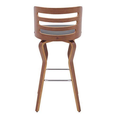 """Armen Living - Verne 30"""" Swivel Gray Faux Leather and Walnut Wood Bar Stool"""