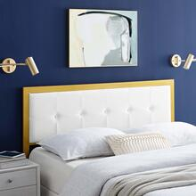 View Product - Teagan Tufted Twin Performance Velvet Headboard in Gold White